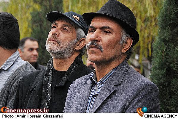 مهدی میامی و حبیب دهقان نسب در تشییع پیکر مرحوم انوشیروان ارجمند