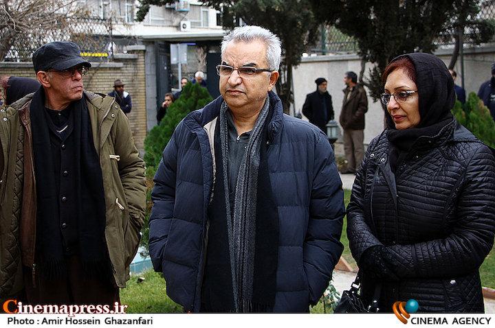 بیتا منصوری و ابوالحسن داوودی در تشییع پیکر مرحوم«نیما طباطبایی»