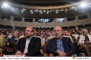 دکتر محمود صلاحی و دکتر محمدباقر قالیباف در اختتامیه ششمین جشنواره بینالمللی فیلم شهر