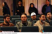 سیدمحمود رضوی و محمدحسین نیرومند در مراسم انتخاب چهره سال هنر انقلاب اسلامی