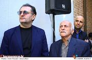 مسعود نجفی، عزت الله رمضانی فر و علی دهکردی در مراسم تشییع پیکر مرحوم «حسین شهاب»