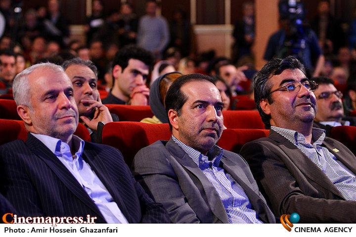 محمدمهدی طباطبایی نژاد، حسین انتظامی و سعید اوحدی در اختتامیه دوازدهمین جشنواره بینالمللی سینما حقیقت