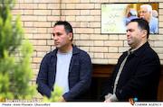 منصور غضنفری و حسن مصطفوی در مراسم تشییع پیکر مرحوم «حبیب کاوش»