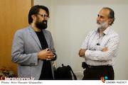 حبیب الله بهمنی و رضا ایرانمنش در مراسم تکریم و معارفه مدیرعامل انجمن سینمای انقلاب و دفاع مقدس