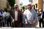 محسن مومنی شریف و حجت الاسلام محمد قمی در مراسم تکریم و معارفه رئیس «حوزه هنری»