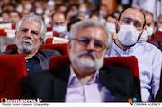 علی فروغی و منوچهر شاهسواری در مراسم تکریم و معارفه رئیس «حوزه هنری»