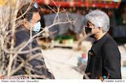 مهدی فرجی و منصور غضنفری در پشت صحنه سریال «نون خ ۳»