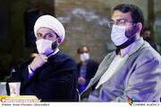 مراسم محمدمهدی دادمان و حجتالاسلام قمی در مراسم اختتامیه «هفته هنر انقلاب اسلامی»«هفته هنر انقلاب اسلامی»