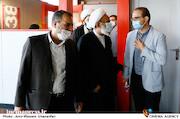 امیررضا خادم و حجت الاسلام و المسلمین  مرتضی آقاتهرانی در پنجمین روز سی و هشتمین جشنواره جهانی فیلم فجر